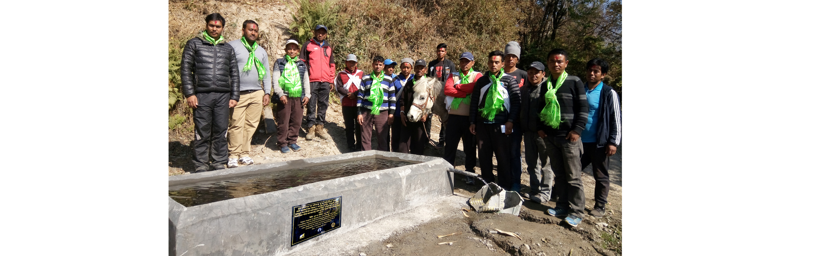 Water Trough for equines built at Ghandruk, Kaski in partnership with Ghandruk Mule Traders Union